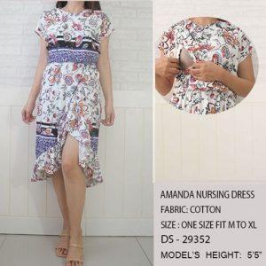 Amanda Nursing Dress-White With Blue Floral