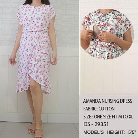 Amanda Nursing Dress-White w Pink Flowersl