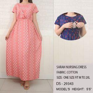 Sarah Nursing Dress-Peach with White Zigzag