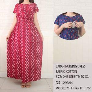 Sarah Nursing Dress-Red with White Zigzag