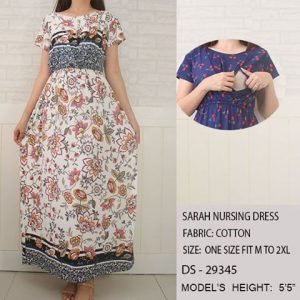 Sarah Nursing Dress-White w Peach Flowers